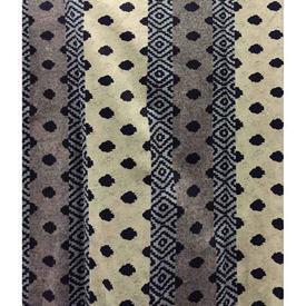 "Pair Drapes 8'6"" x 4' Navy Spots Stripe Chintz"