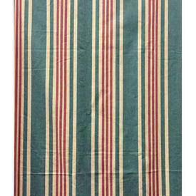 "Pair Drapes 8'6"" x 4' Teal Stripe Cotton"