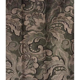 """Pair Drapes 8'9"""" x 4' Brown Large Leaf Scroll Moquette"""