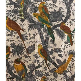 "Pair Drapes 8'9"" x 6' Charcoal / Mustard Bahia Parrots in Branches Chintz"