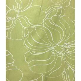 "Pair Drapes 8'6"" x 16' Lime / Off-White Large Flowers Print Cotton"
