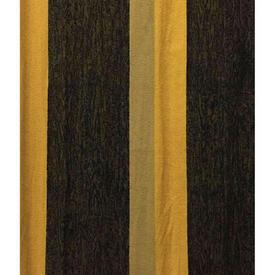 "Pair Drapes 8'9"" x 6' Black / Yellow Cepea Hyde Park Stripe Barkcloth"