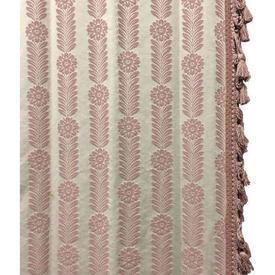 "Pair Drapes 8'9"" x 6' Rose Floral Stripe Damask / Tassel Fringe"