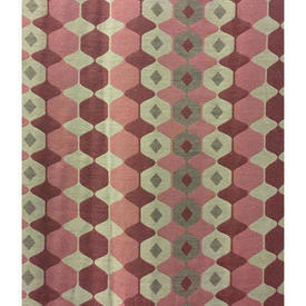 "Pair Drapes 8'9"" x 6' Pink / Dusky Small Hexagons Jacquard"