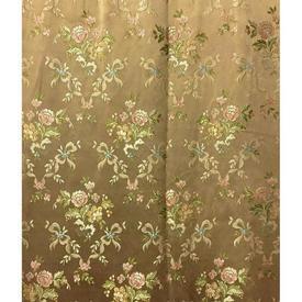 """Pair Drapes 8'9"""" x 8' Gold / Green Floral & Ribbons Brocade"""