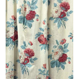"""Pair Drapes 8'9"""" x 6' Turquoise / Maroon Floral Bouquets Chintz"""