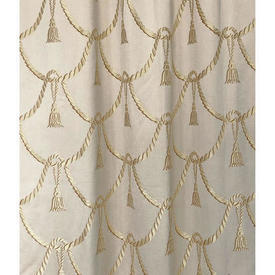 """Pair Drapes 8'9"""" x 4' Cream / Gold Silky Tassels Patt Brocade"""
