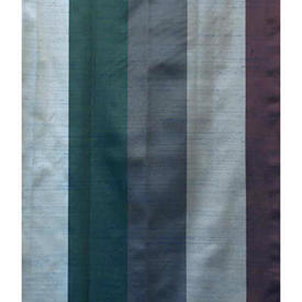 "Pair Drapes 8'9"" x 8' Blue Stripe Silky Dupion"