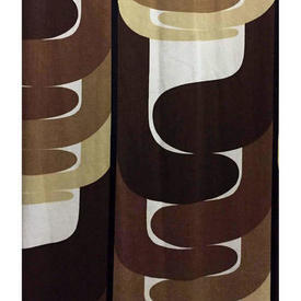 """Pair Drapes 8'9"""" x 12' Brown Large Abstract Geo Sateen"""