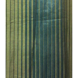 Pair Drapes 9' x 4' Teal / Lime Stripe Sheer