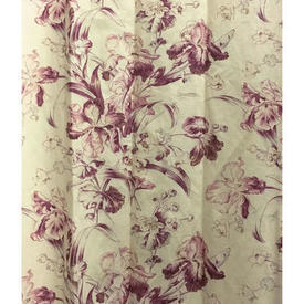 Pair Drapes 9' x 10' Plum Mulberry Co Wild Irises Linen