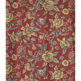 Pair Drapes 9' x 4' Red Faded Floral Print Linen / Inset Border