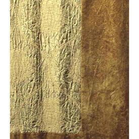 Pair Drapes 9' x 5' Gold Scroll Silky Brocatelle / Plush Border