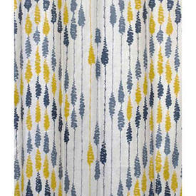 "Pair Drapes 9'3"" x 10' Blue / Yellow Squiggle Stripe Cotton (PP)"