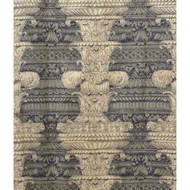 "Pair Drapes 9'3"" x 4' Navy Columns Print Faded Linen / Braid"