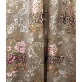 """Pair Drapes 9'3"""" x 6' Silver Floral Bouquets Brocade"""