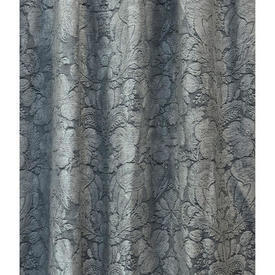 "Pair Drapes 9'6"" x 6'6"" Grey Linwood Large Floral Leaf Damask"