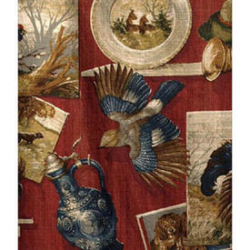"Pair Drapes 9'3"" x 5'6"" Red Hunting Collage Print Barkcloth"
