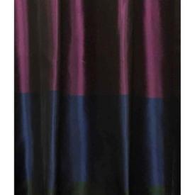 "Pair Drapes 9'3"" x 4'6"" Navy / Purple Horiz. Wide Stripe Taffeta"