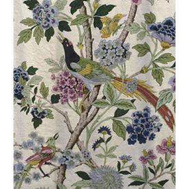 "Pair Drapes 9'3"" x 4' Navy Birds in Foliage Linen"