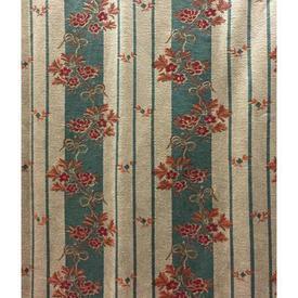 "Pair Drapes 9'6"" x 4' Teal Floral & Stripe Satin Weave"