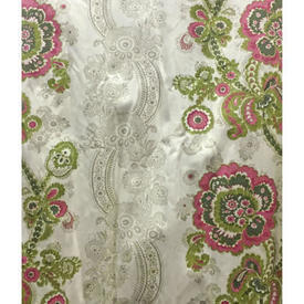 "Pair Drapes 9'6"" x 4' Lime Floral Paisley Stripe Sateen"