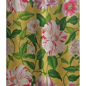 """Pair Drapes 9'4"""" x 4' Lemon Sanderson Large Tropical Floral"""