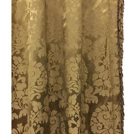 "Pair Drapes 9'6"" x 8' Gold Floral Damask / Fringe"