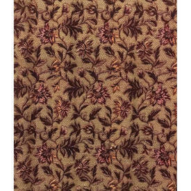 "Pair Drapes 9'6"" x 4' Brown Floral Tapestry / Braid"