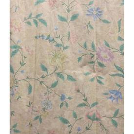 """Pair Drapes 9'6"""" x 8' Apricot / Mint Floral Leaf Chintz"""