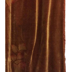 "Pair Drapes 9'9"" x 4' Chestnut Large Leaf Print Velvet"