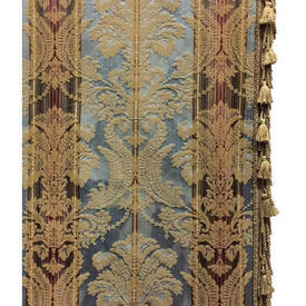 "Pair Drapes 9'9"" x 4' Airforce Classical Stripe Damask / Braid / Fringe"