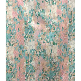 "Pair Drapes 9'9"" x 8' Aqua / Apricot Jigsaw Abstract Stripe Chintz"
