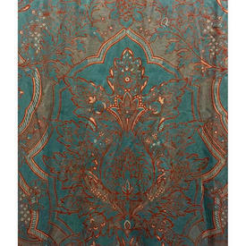 "Pair Drapes 9'9"" x 4' Teal Large Classical Chintz"