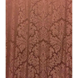 "Pair Drapes 9'9"" x 6' Rust Classical Damask"