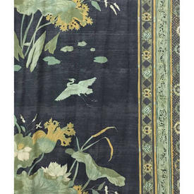 "Pair Drapes 9'9"" x 4' Charcoal Herons & Floral Chintz"