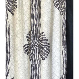 "Pair Drapes 9'9"" x 6' Black / Off-White Design Edition Knotted Sash Chintz"