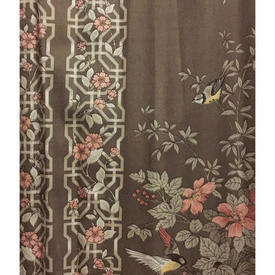 "Pair Drapes 9'9"" x 6' Brown Birds & Floral Trellis Sateen"