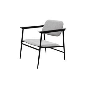 Black Metal & Light Grey Fabric ''Dc'' Chair with Arms