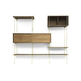 "Smoked Oak & Brass ""Rod"" Shelving Unit  (1 X Large Shelf, 2 X Small Shelves, 1 X Large Cabinet, 1 X Small Cabinet)"