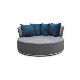 "Circular Grey ""Amoenus"" Seating Unit with 4 Navy Blue Scatter Cushions"