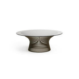 Warren Platner Circ Steel Rod Base Coffee Table with Smoked Glass Top