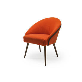 Orange Textured Chair with Teal Piping on Wooden Legs