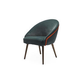 Teal Velvet Chair with Orange Piping on Wooden Legs.