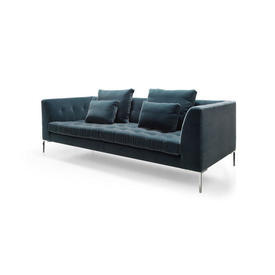 Steel Grey Mohair ''Duchamp'' 3 Seater Sofa on Polished Chrome Legs & 4 Cushions (2 Large, 2 Small)