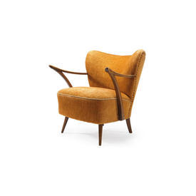 Mustard Cord Chair with Dark Wooden Arms