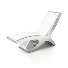 Chrome & White Leather Chaise Longue
