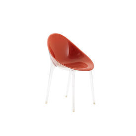 Red Perspex ''Mr Impossible'' Chair on Clear Legs