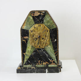 Green & Black Marble Deco Mantle Clock