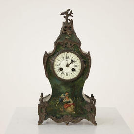 Brass Ornate Green Painted French Mantle Clock